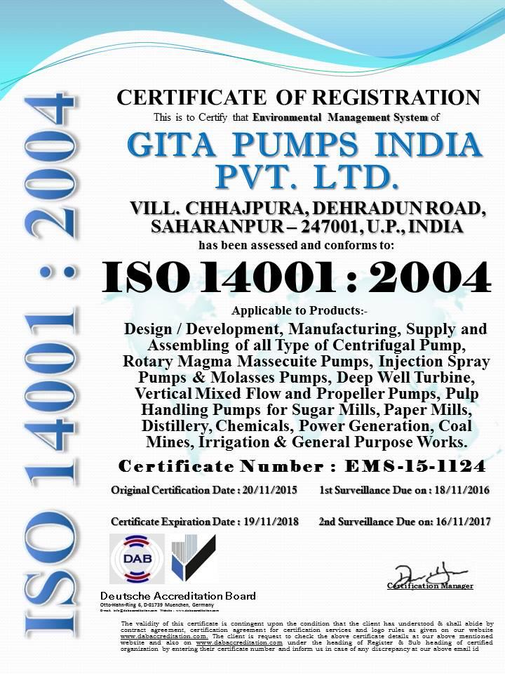 GITA PUMPS INDIA PVT.LTD. 14001