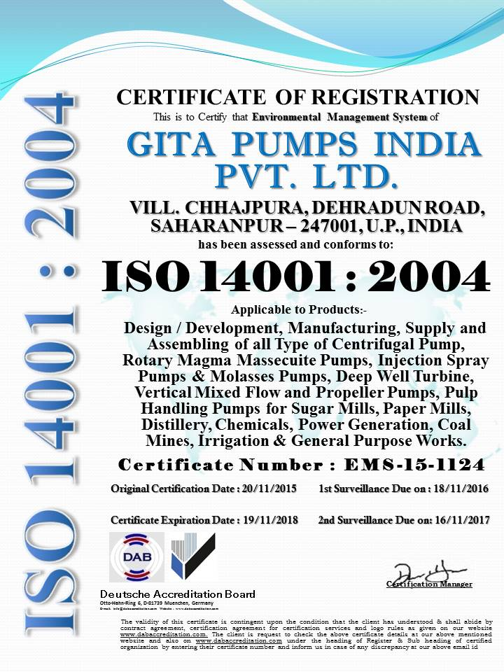 GITA PUMPS INDIA PVT.LTD. 14001
