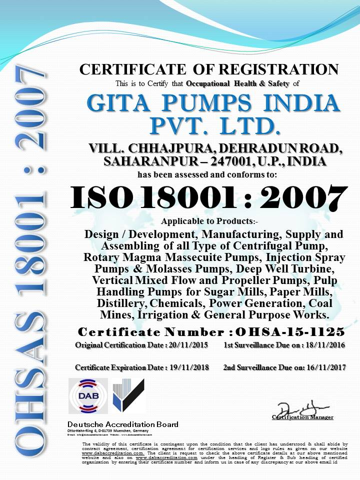 GITA PUMPS INDIA PVT.LTD. 18001