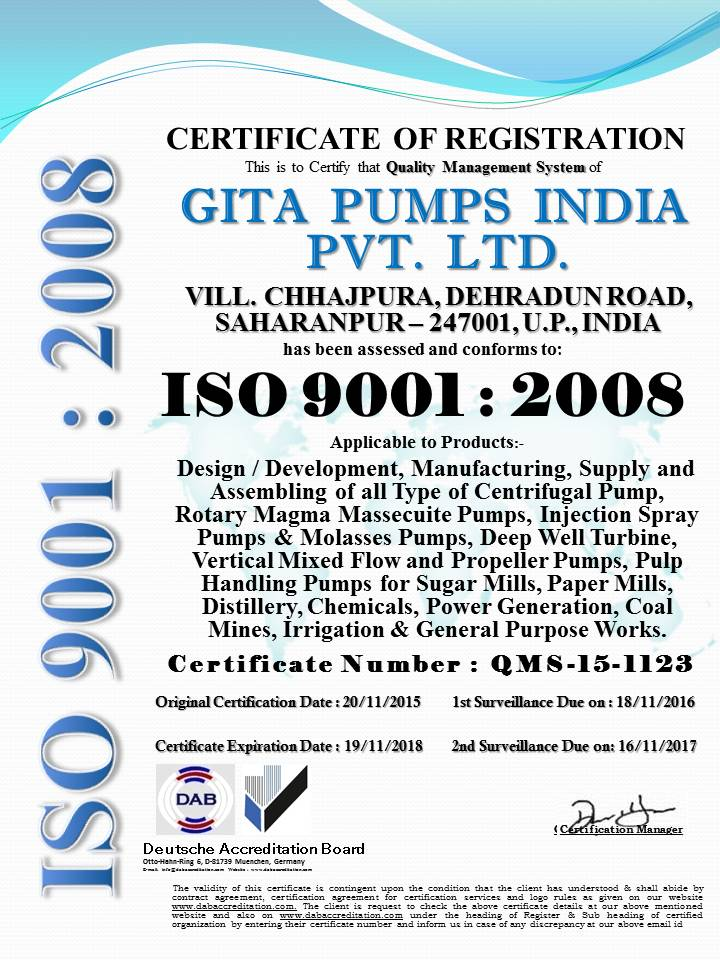 GITA PUMPS INDIA PVT.LTD. 9001 Change Final Copy